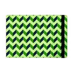 Green Modern Retro Chevron Patchwork Pattern Apple iPad Mini 2 Flip Case