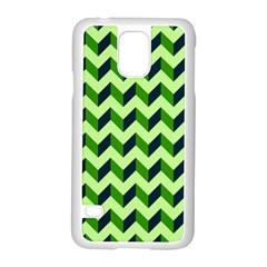 Green Modern Retro Chevron Patchwork Pattern Samsung Galaxy S5 Case (White)