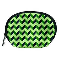 Green Modern Retro Chevron Patchwork Pattern Accessory Pouch (Medium)