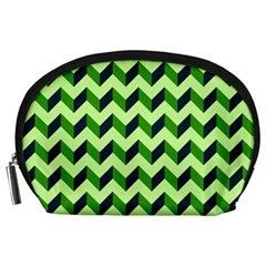 Green Modern Retro Chevron Patchwork Pattern Accessory Pouch (large)