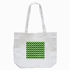 Green Modern Retro Chevron Patchwork Pattern Tote Bag (White)