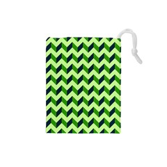 Green Modern Retro Chevron Patchwork Pattern Drawstring Pouch (Small)