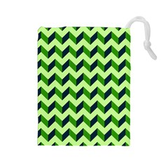 Green Modern Retro Chevron Patchwork Pattern Drawstring Pouch (Large)