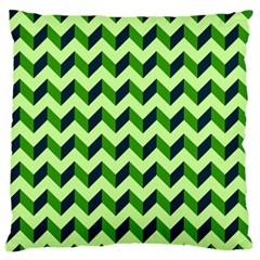 Green Modern Retro Chevron Patchwork Pattern Large Flano Cushion Case (One Side)