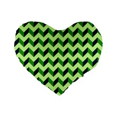 Green Modern Retro Chevron Patchwork Pattern 16  Premium Flano Heart Shape Cushion