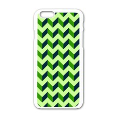 Green Modern Retro Chevron Patchwork Pattern Apple Iphone 6 White Enamel Case