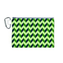 Green Modern Retro Chevron Patchwork Pattern Canvas Cosmetic Bag (Medium)