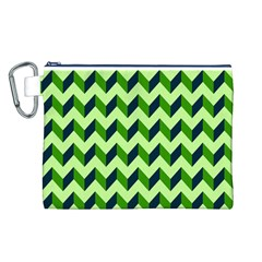 Green Modern Retro Chevron Patchwork Pattern Canvas Cosmetic Bag (Large)