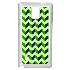 Green Modern Retro Chevron Patchwork Pattern Samsung Galaxy Note 4 Case (White)