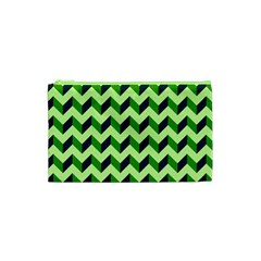 Green Modern Retro Chevron Patchwork Pattern Cosmetic Bag (XS)