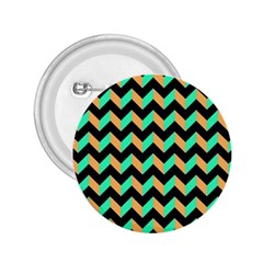 Neon And Black Modern Retro Chevron Patchwork Pattern 2 25  Button