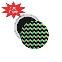 Neon And Black Modern Retro Chevron Patchwork Pattern 1 75  Button Magnet (100 Pack)