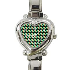 Neon And Black Modern Retro Chevron Patchwork Pattern Heart Italian Charm Watch