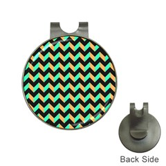 Neon And Black Modern Retro Chevron Patchwork Pattern Hat Clip With Golf Ball Marker