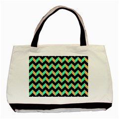 Neon And Black Modern Retro Chevron Patchwork Pattern Classic Tote Bag