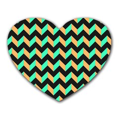 Neon And Black Modern Retro Chevron Patchwork Pattern Mouse Pad (heart)