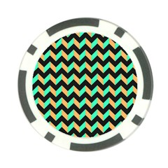 Neon And Black Modern Retro Chevron Patchwork Pattern Poker Chip (10 Pack)