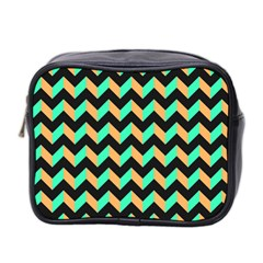 Neon And Black Modern Retro Chevron Patchwork Pattern Mini Travel Toiletry Bag (two Sides)