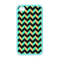 Neon And Black Modern Retro Chevron Patchwork Pattern Apple Iphone 4 Case (color)