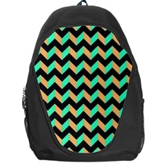 Neon And Black Modern Retro Chevron Patchwork Pattern Backpack Bag