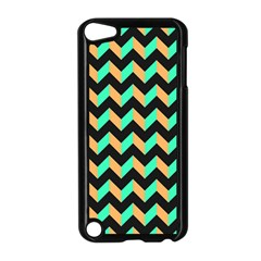 Neon And Black Modern Retro Chevron Patchwork Pattern Apple Ipod Touch 5 Case (black)