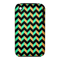Neon and Black Modern Retro Chevron Patchwork Pattern Apple iPhone 3G/3GS Hardshell Case (PC+Silicone)