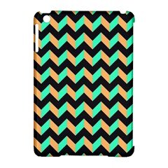 Neon And Black Modern Retro Chevron Patchwork Pattern Apple Ipad Mini Hardshell Case (compatible With Smart Cover)