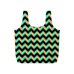 Neon and Black Modern Retro Chevron Patchwork Pattern Reusable Bag (S)