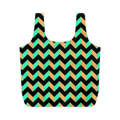 Neon And Black Modern Retro Chevron Patchwork Pattern Reusable Bag (m)