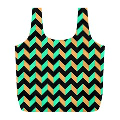 Neon and Black Modern Retro Chevron Patchwork Pattern Reusable Bag (L)