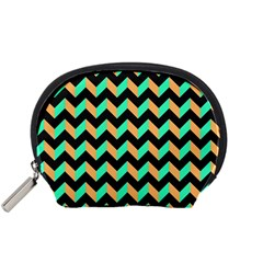Neon And Black Modern Retro Chevron Patchwork Pattern Accessory Pouch (small)