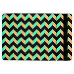 Neon and Black Modern Retro Chevron Patchwork Pattern Apple iPad Air Flip Case