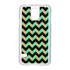 Neon and Black Modern Retro Chevron Patchwork Pattern Samsung Galaxy S5 Case (White)
