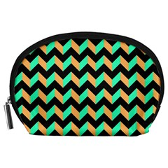 Neon And Black Modern Retro Chevron Patchwork Pattern Accessory Pouch (large)