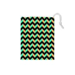 Neon and Black Modern Retro Chevron Patchwork Pattern Drawstring Pouch (Small)