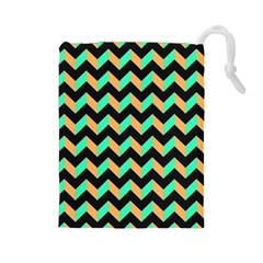 Neon and Black Modern Retro Chevron Patchwork Pattern Drawstring Pouch (Large)
