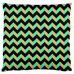 Neon And Black Modern Retro Chevron Patchwork Pattern Large Flano Cushion Case (one Side)