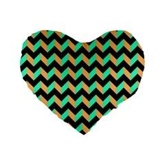 Neon And Black Modern Retro Chevron Patchwork Pattern 16  Premium Flano Heart Shape Cushion