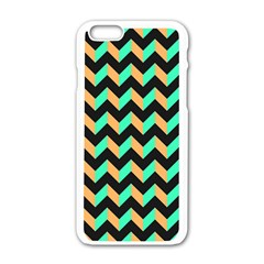 Neon and Black Modern Retro Chevron Patchwork Pattern Apple iPhone 6 White Enamel Case