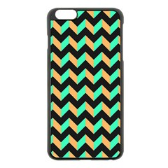 Neon and Black Modern Retro Chevron Patchwork Pattern Apple iPhone 6 Plus Black Enamel Case