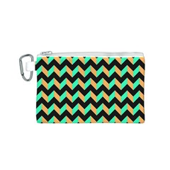 Neon And Black Modern Retro Chevron Patchwork Pattern Canvas Cosmetic Bag (small)