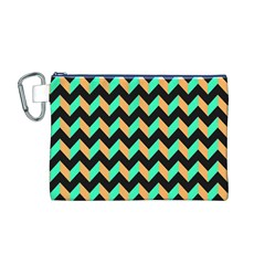 Neon and Black Modern Retro Chevron Patchwork Pattern Canvas Cosmetic Bag (Medium)