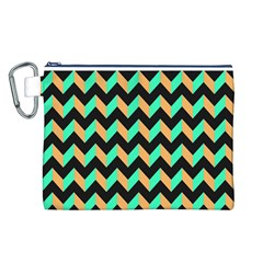 Neon and Black Modern Retro Chevron Patchwork Pattern Canvas Cosmetic Bag (Large)
