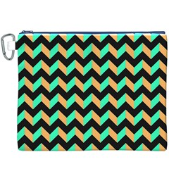 Neon and Black Modern Retro Chevron Patchwork Pattern Canvas Cosmetic Bag (XXXL)