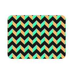 Neon and Black Modern Retro Chevron Patchwork Pattern Double Sided Flano Blanket (Mini)