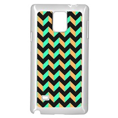 Neon And Black Modern Retro Chevron Patchwork Pattern Samsung Galaxy Note 4 Case (white)