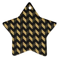Tan Gray Modern Retro Chevron Patchwork Pattern Star Ornament