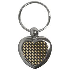 Tan Gray Modern Retro Chevron Patchwork Pattern Key Chain (heart)
