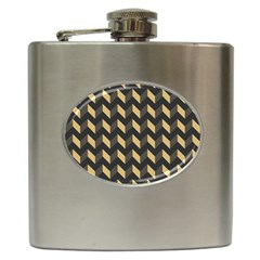 Tan Gray Modern Retro Chevron Patchwork Pattern Hip Flask