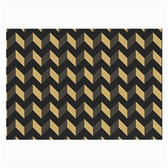 Tan Gray Modern Retro Chevron Patchwork Pattern Glasses Cloth (large, Two Sided)